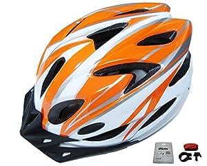D'Kotte スタイリッシュ 軽量 自転車用 サイクリング ヘルメット 色選択できます。 LEDテールライトセット (ホワイト/オレンジ)