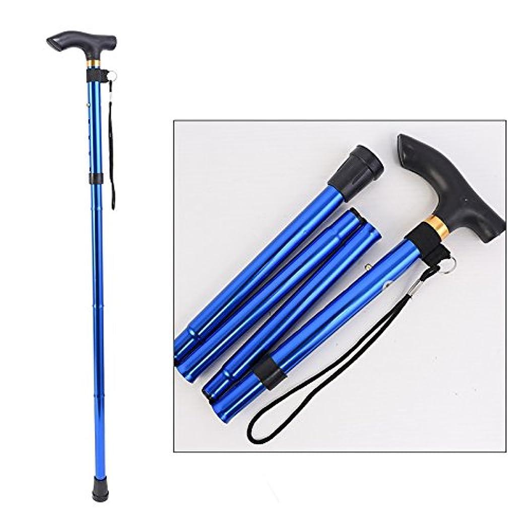 礼儀実験没頭するフォールドトレッキングポールアルミ合金超軽量テレスコピック高さ調節可能な杖オールドマンノンスリップ松葉杖,Blue