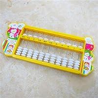幼児期のゲーム プラスチック製のアバカス5ビーズ11ファイル小学校の子供用アバカスのおもちゃ(イエロー)