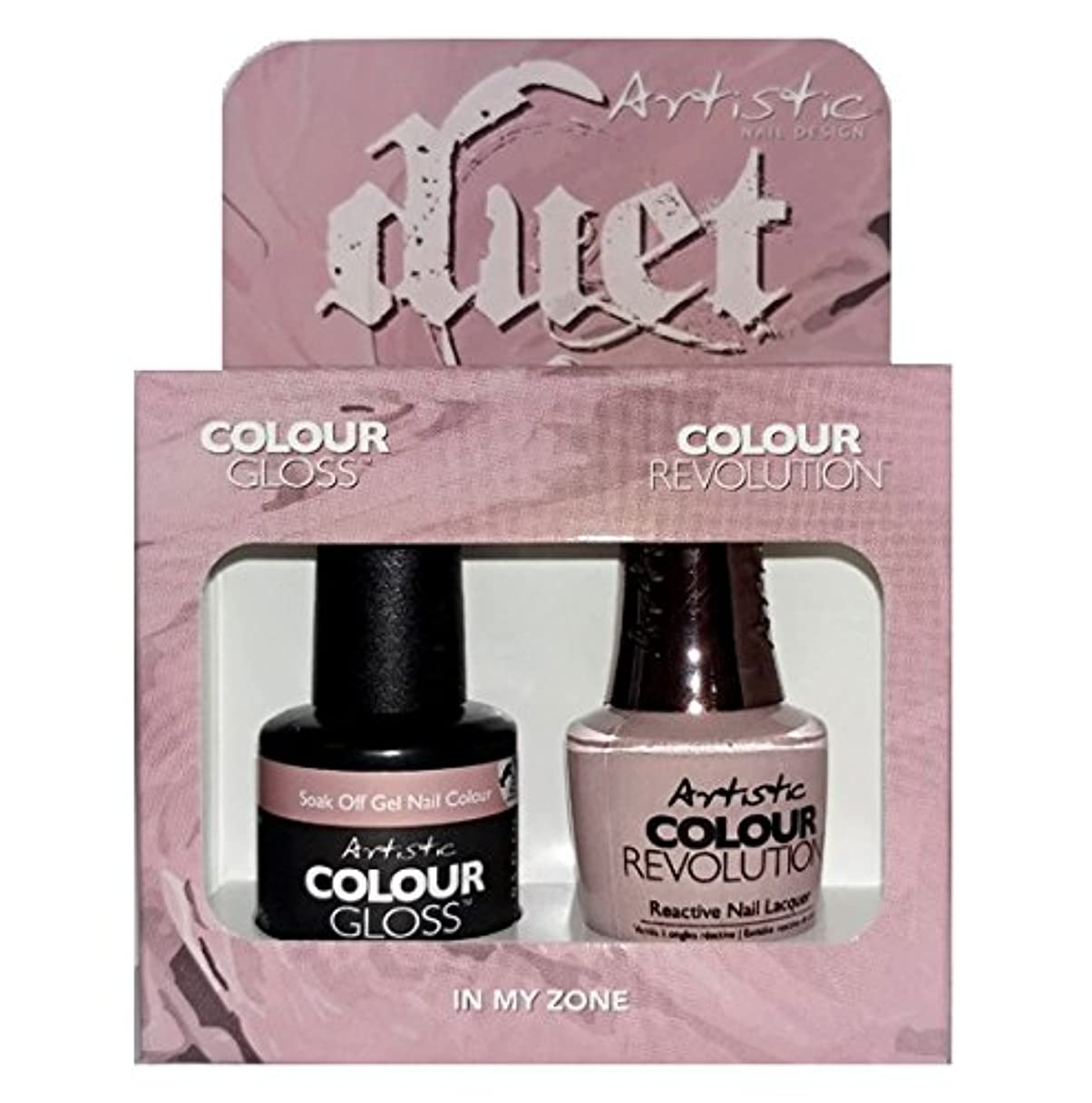 棚前述の開梱Artistic Nail Design - Duet Gel & Polish Duo - In My Zone - 15 mL / 0.5 oz each