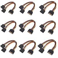 9pcs/lot High Quality 15 Pin SATA Male to 2 SATA Splitter Female Power Cable