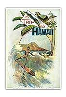 ハワイ旅行 - ダイヤモンドヘッドクレーターの近くにハワイのサーフライダー - ハワイの観光ブックレットの表紙 - c.1894 - アートポスター - 23cm x 31cm