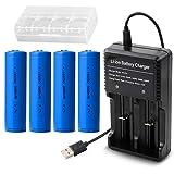 4本 18650充電池 3.7V 3000mAh充電式リチウムイオン電池 USB電池充電器付き LED戦術懐中電灯/ヘッドランプ等に適用