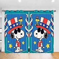 スヌーピーと彼の人生 カーテン 高級感 一級遮光 断熱 防寒 取付簡単 幅132cm×丈183cm×2枚組