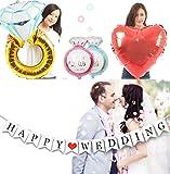 JINSELF 結婚サプライズリング 【巨大指輪/英国ガーランド】 バルーン装飾セット 結婚式で華やかな飾りつけ アルミ ハート インテリア 【指輪バルーン】