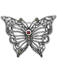 FB Jewels ソリッド925スターリングシルバーロジウムメッキ マーカサイトレッドキュービックジルコニア バタフライピン
