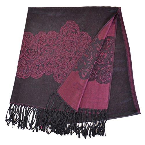 パシュミナ 素敵なローズ花柄 刺繍入り リバーシブル パシュミナストール (むらさき(紫))