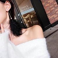 TKHNE Xian Qi ロングセクション ホワイトイヤリング 超かわいい フェアリーエレガント シンプル ウール ボール ピアス フェザー フラシ天 ソフト シスター