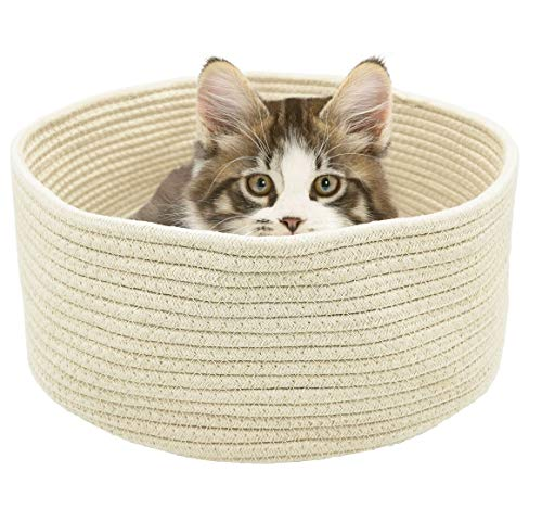 V-Dank キャット ベッド 猫 ペット ラウンド ベッド 夏 クール 小型犬 室内用 洗える 丸洗い 丈夫 噛む子にお勧め 円形 寝台 ぐっすり眠る 休憩所 折りたたみ可能 猫グッズ 雑貨 手編み 40x40cm (棉糸)