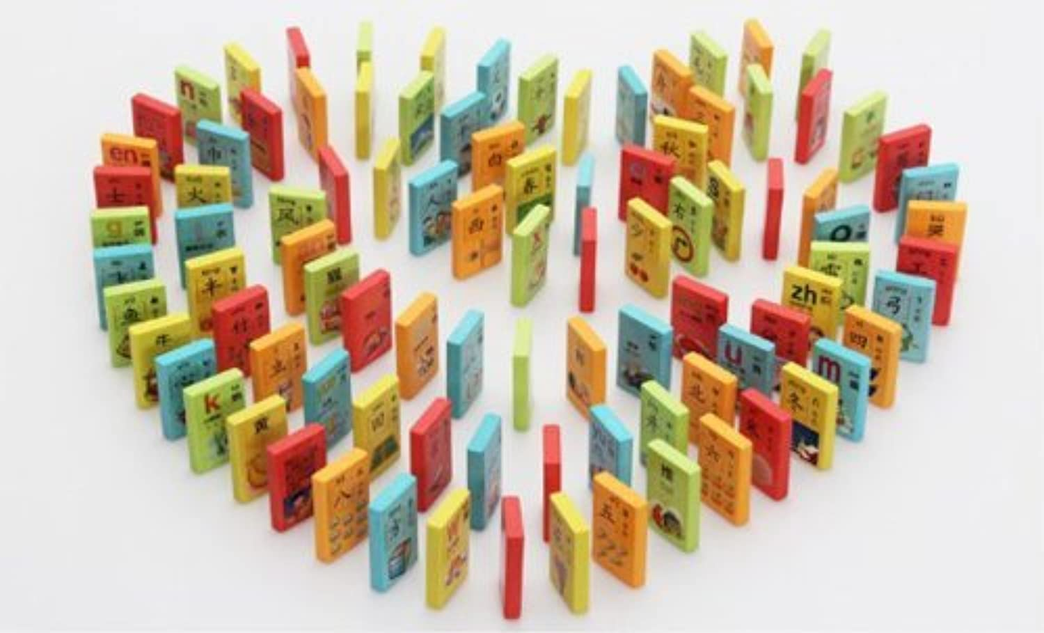 Colorized and double-sided dominoes!Be printed Chinese characters and lovely pictures dominoes,Children early education toys,have 100 pieces B19-01-03 by meiminginc [並行輸入品]