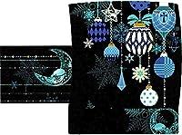 【WA・KKA】京袋帯【オーナメント】クリスマス 正絹 日本製 仕立て上がり (黒)