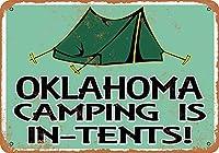 Shimaier 壁の装飾 メタルサイン ウォールアート - Oklahoma Camping is in-Tents 縦30×横40cm ブリキ看板 店舗装飾 壁面ディスプレー おしゃれ 雑貨 通販 アメリカン ガレージ
