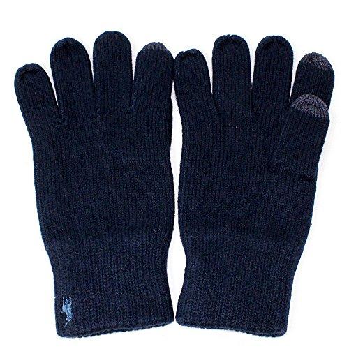 ラルフ グローブ POLO RALPH LAUREN (ポロラルフローレン) メンズ コットングローブ ニット 手袋 ポニー ロゴ 刺繍 スマホ対応 コットン メリノ タッチ グローブ 全3色 6F0498 (NAVY(433))