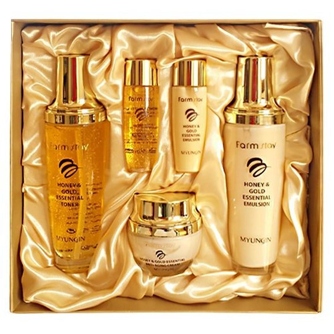 慎重に揺れる可能にするファームステイ[韓国コスメFarm Stay]Honey & Gold Essential Skin Care 3set ハニーゴールドエッセンシャルスキンケア3セット [並行輸入品]