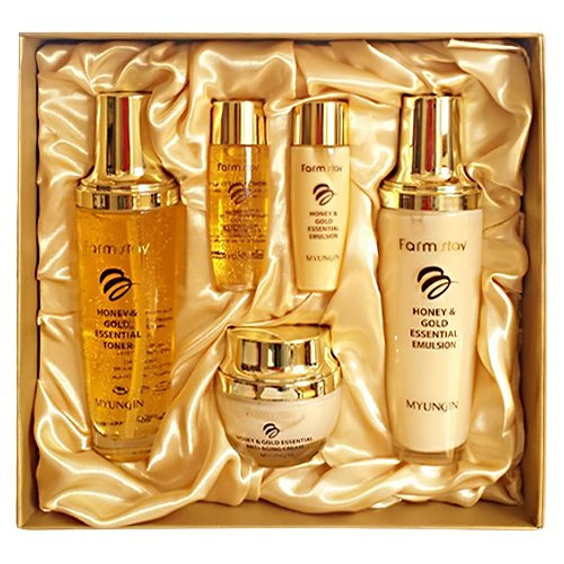 懐疑論俳優署名ファームステイ[韓国コスメFarm Stay]Honey & Gold Essential Skin Care 3set ハニーゴールドエッセンシャルスキンケア3セット [並行輸入品]