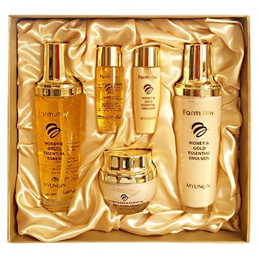 荒れ地罪テレビファームステイ[韓国コスメFarm Stay]Honey & Gold Essential Skin Care 3set ハニーゴールドエッセンシャルスキンケア3セット [並行輸入品]