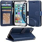【Arae】 iPhone6 / 6s ケース 手帳型「 スタンド機能 カードポッケト ストラップ」人気 おしゃれ 落下防止 衝撃吸収 財布型 おすすめ アイフォン 6 / 6s 用 ケース カバー (iPhone6 / 6s , ダークブルー)