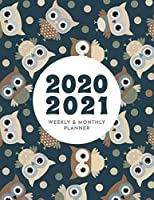 2020 - 2021 Weekly & Monthly Planner: Big Custom Planners Gift For Owl Lover; Two Year Organizer Book; Stay Organized With  Our Agenda & Appointment Calendar Weekly Planner Customized with Dot Grid Journal  (Cute Brown Owls In Black Background)