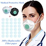 Face Mask Protective Food Grade TPE Soft Gel Washable, KN95 Certified + 30 Replaceable Filter Paper (White)