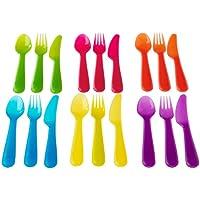 NEW KALAS キッズ食器 カラフルカトラリー18個 プラスチック製 IKEA 101.929.61