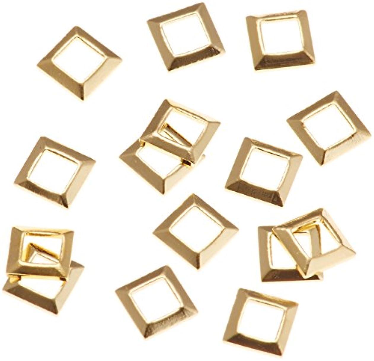 ボア独立して分析的リトルプリティー ネイルアートパーツ スクエア スカシ ゴールド 50個