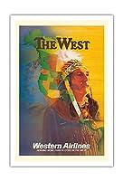西 - アメリカンインディアンチーフ - ウェスタン航空 - ビンテージな航空会社のポスター によって作成された E・カール・レイク c.1950s - アートポスター - 76cm x 112cm