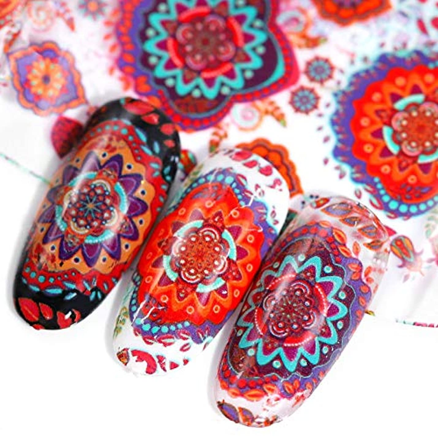 スチュワード縫うスリットArtlalic 10ピースネイルアートデコレーションネイルホイルネイル転写ステッカーネイルアートデカールカラフルな星空ヴィンテージエスニック風の花のデザインさまざまなデザインランダム混合