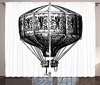 """Ambesonneアパートインテリアコレクション、Historical人気London CityアイコンでスケッチデザインGreat Britain City Lifeオブジェクト、窓、リビングルームベッドルームカーテン2パネルセットホワイト、ブラウン 108"""" W By 84"""" L p_17722_Sketch_08.01_108x84"""