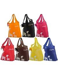 kiwipiキリンテーマ再利用可能なショッピング/ Grocery wallet-styleトートバッグ、6のセット(ランダム色)