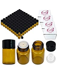 144 Packs Beauticom 2ML Amber Glass Vial for Essential Oils, Aromatherapy, Fragrance, Serums, Spritzes, with Orifice...