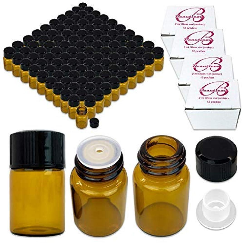 ゲスト申請者無秩序144 Packs Beauticom 2ML Amber Glass Vial for Essential Oils, Aromatherapy, Fragrance, Serums, Spritzes, with Orifice Reducer and Dropper Top [並行輸入品]