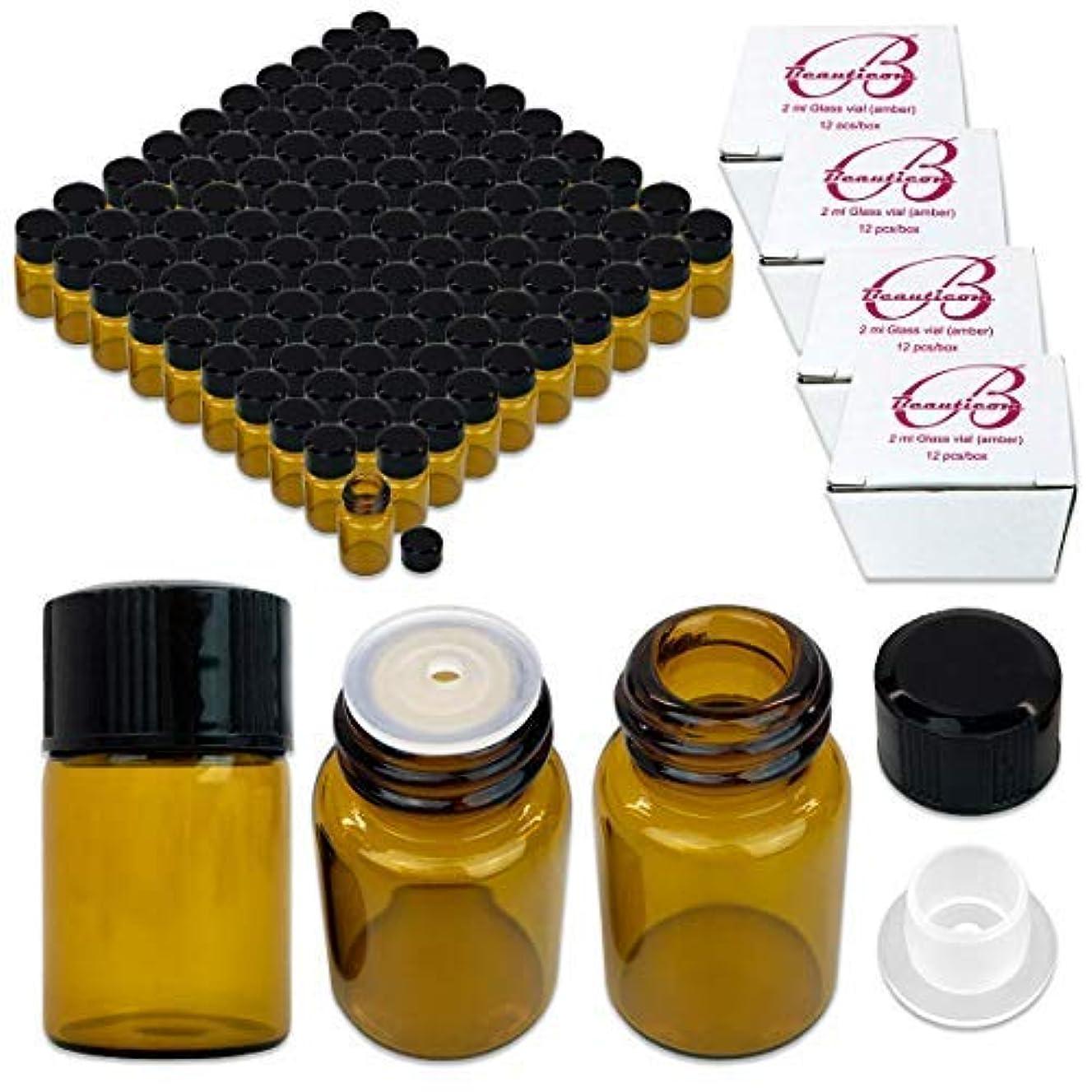 イベントアルバム診療所144 Packs Beauticom 2ML Amber Glass Vial for Essential Oils, Aromatherapy, Fragrance, Serums, Spritzes, with Orifice...