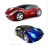 かっこいい 光る ワイヤレスマウス 光学式 車型 マウス (ブラック)