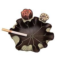 JJJJD 彫刻灰皿のタバコ灰キャッチャー樹脂グリーンリーフパターントレイ (Color : A, Size : 28*8cm)