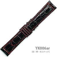 【牛革型押し】YK006 ar2018 | 色:黒・赤ステッチ / ベルト幅:20mm (黒・赤ステッチ)
