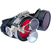 UMBRELLALABORATORY Steampunk Goggles Victorian Novelty Glasses Cosplay CWG red 1x with mag. Loops