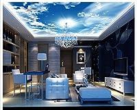 MzNm Cuatom 3d壁紙3d天井壁画壁紙ブルースカイバーKTV座って部屋のベッドルーム天井壁画ホーム装飾壁紙 Gsavba -56726