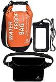 Freegrace防水ドライバッグ3セット-2つのジップロック&取り外し可能のショルダーストラップ付き、ウエストポーチ&携帯ケース - 水につけても大丈夫 - 水泳、カヤック、ラフティング、ボートに最適 (オレンジ, 5L)