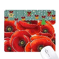 赤い花をおおうコーンポピー ゲーム用スライドゴムのマウスパッドクリスマス