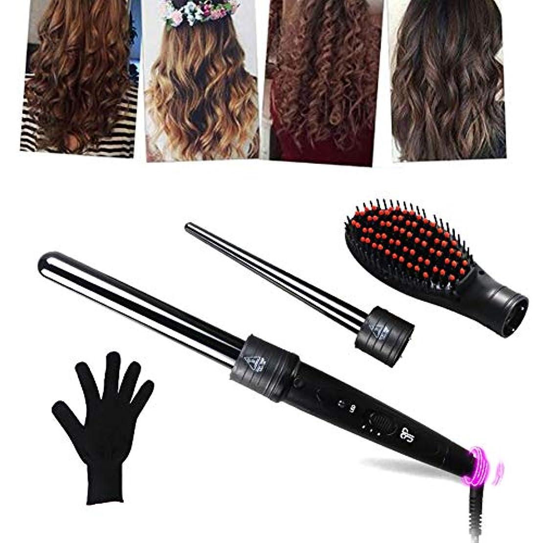 寸法インフラインゲンヘアカーラー - 2で1カーリングアイロンセット、2髪交換カーラーセラミックバレ 1 ストレートヘアコーム 耐熱手袋が付ル用すべての髪