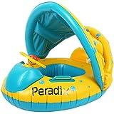 ベビー浮き輪 Peradix 足入れ ベビーフロート 水遊び 屋根付き 日よけ ハンドル付き 補修用パッチ付き 対象年齢6~18ヶ月(イエロー)