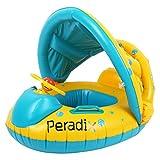 Peradix ベビー浮き輪 足入れ ベビーフロート 水遊び 屋根付き 日よけ ハンドル付き 補修用パッチ付き 対象年齢6~18ヶ月(イエロー)