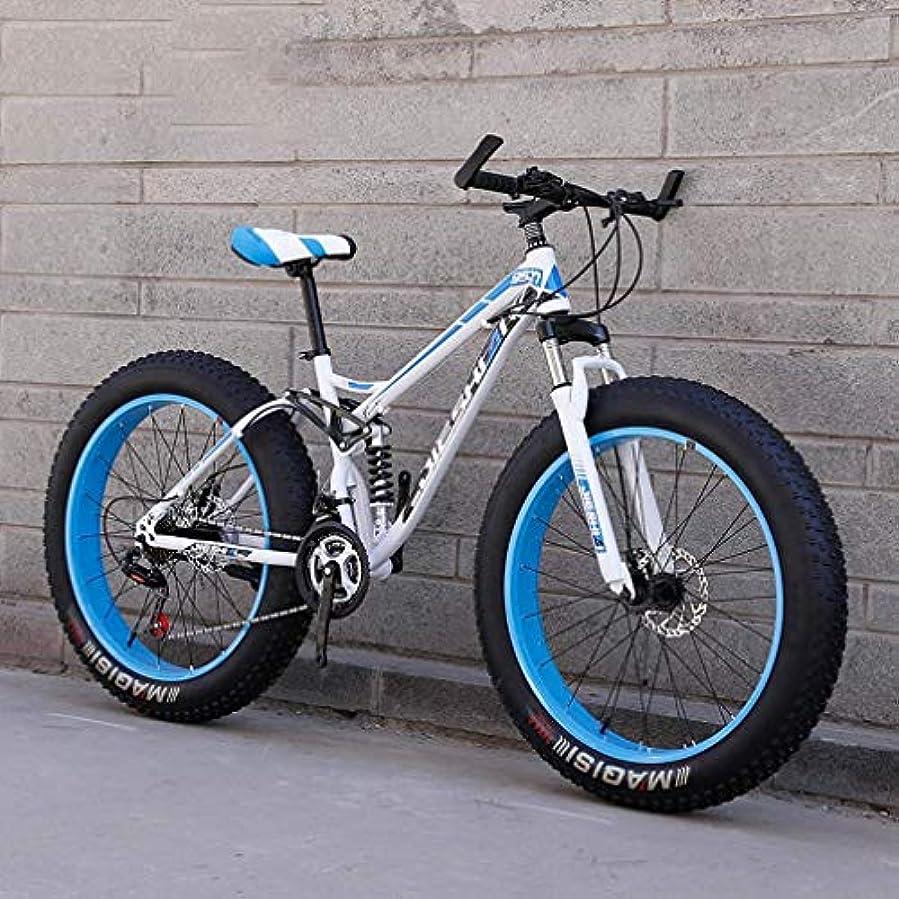 バウンド愛撫事実アダルトファットタイヤマウンテンバイク、ビーチスノーバイク、ダブルディスクブレーキバイク、軽量高炭素スチールフレーム自転車、24インチホイール