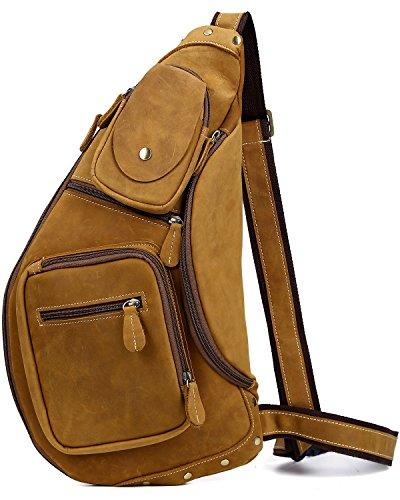 [(チョウギュウ) 潮牛] メンズ 本革 斜め掛けバッグ ボディバッグ ワンショルダーバッグ レザー ヌメ革 牛革 iPad鞄 マチ拡張 ブラウン