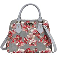 Orchid Grey and Red Top-Handle Shoulder Bag by Signare/Floral Evening Side Wild Orchid Handbag/Conv-ORC
