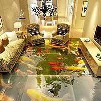 Wuyyii カスタム3 D床の壁紙3 Dスーパーリアル中国風の床絵画水ポリ塩化ビニールの自己接着壁のステッカーの壁紙防水 - 150×120 Cm