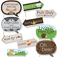 Funny Woodland Creatures - Baby Shower or Birthday Party Photo Booth Props Kit - 10 Piece [並行輸入品]