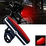 TERSELY USB Rechargeable LED Bike Tail Light, 6 Modes Waterproof Powerful LED Bicycle Rear Light Easy Install Mount on Bicycles Helmets Safety Taillight up to 6 Hours for Optimum Cycling Safety