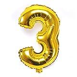 風船3数字パーティー誕生日結婚式飾り物アルミゴールドバルーン40インチ超巨大(0-9)J003