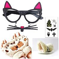 [XPデザイン] ネコ耳 猫耳 猫ヒゲ 黒ぶち グラス ネコ メガネ 肉球 グローブ 手袋 アクセサリーセット (ねこ耳黒メガネ)